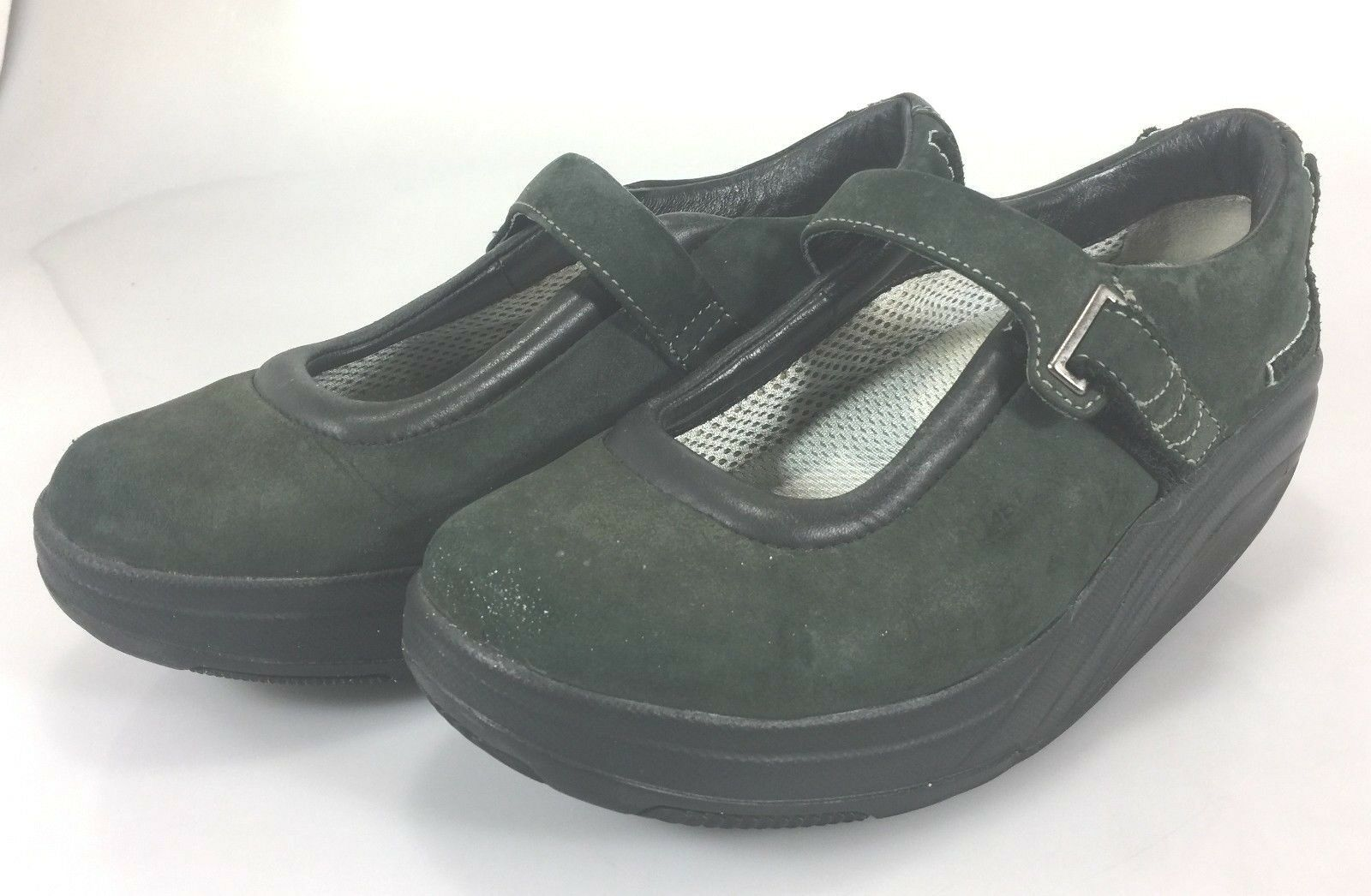 MBT mujer EE. UU. 7.5 Eje de Balancín Caminar Zapatos Zapatos Zapatos Mary Janes EU 37.67 De Cuero verde Oscuro  sorteos de estadio