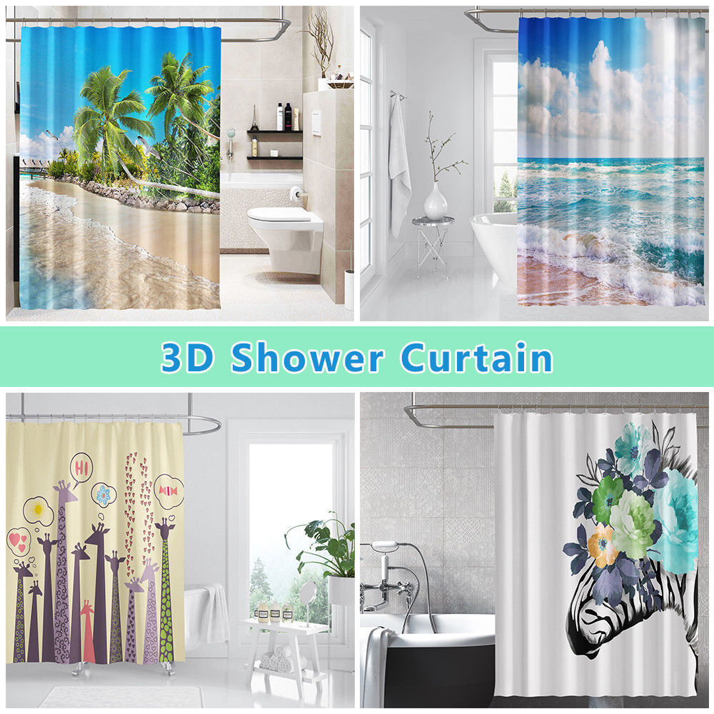 3D Dolphin 46 46 46 Shower Curtain Waterproof Fiber Bathroom Home Windows Toilet Lemon b2581b