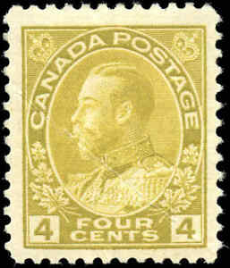 Mint-H-Canada-4c-1922-F-Scott-110b-King-George-V-Admiral-Issue-Stamp