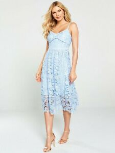 BNWT-Ted-Baker-Valens-Mixed-Lace-Midi-Dress-Light-Blue-UK-8-RRP-299