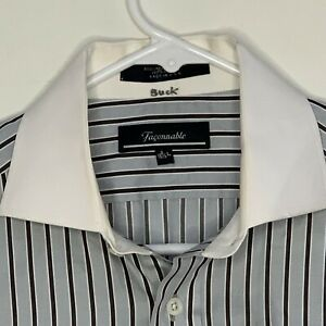 Faconnable-Mens-Designer-Shirt-LS-Blue-Striped-French-Cuff-Large