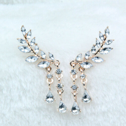 New Angel Wings Stud Earrings Leaves Tassel Rhinestone Ear Jewelry Women Fashion
