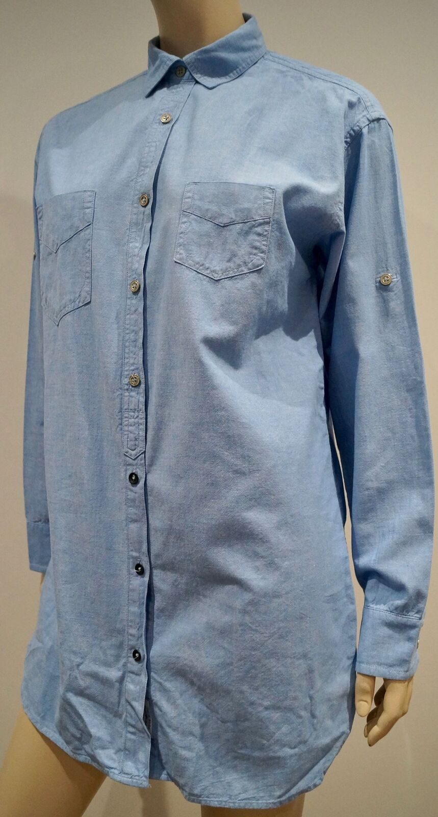 RAG & BONE NEW YORK Blau Cotton CollaROT Adjustable Sleeve Blouse Shirt Top 2;S