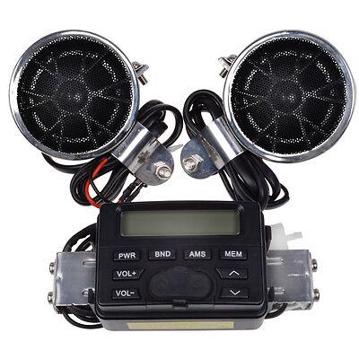 Motorcycle Handlebar Mount Audio Radio MP3 Speaker AUX input For Harley Cruisers