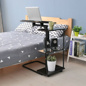 Adjustable C-Shape Table Sofa Side End Table with Wheel PC Laptop Computer Stand
