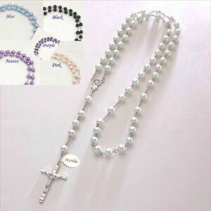 Details About Personalisiert Rosenkranz Perlen Mit Gravur Katholische Taufe Geschenk