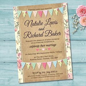 Image Is Loading Personalised Wedding Evening Invitations Amp Envelopes Pastel Colour