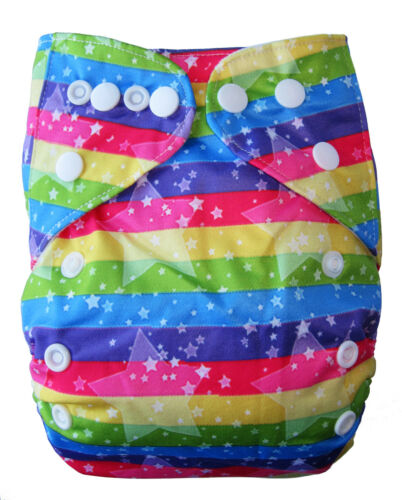 MODERN CLOTH NAPPIES MCN DIAPERS POTTY REUSABLE ADJUSTABLE Rainbow Star SHELL