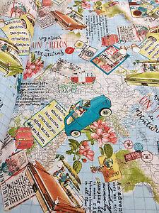 Bon voyage travel vintage world map cotton fabric curtain upholstery la imagen se est cargando bon voyage viaje vintage mapa del mundo tapiceria gumiabroncs Choice Image