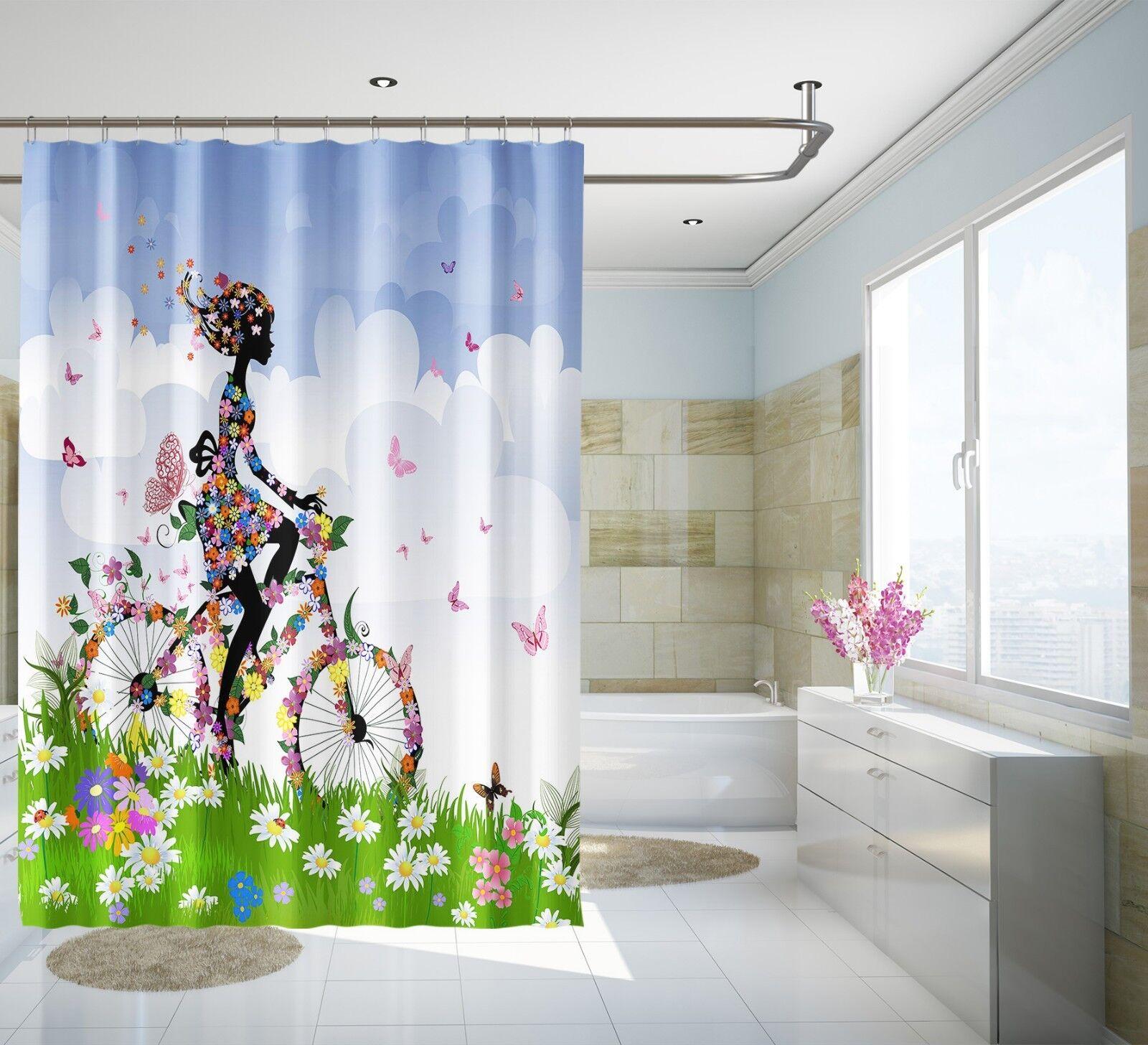 3D Fiore Ragazza 426 Tenda da doccia IMPERMEABILE Fibra Bagno WC CASA FINESTRE