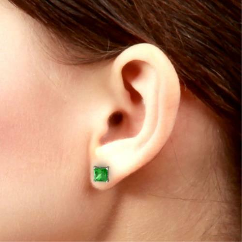 2 Ct Emerald 6mm Princess Cut Stud Earrings White Gold Silver