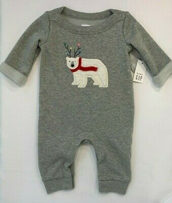 NWT Baby Gap Boys 0-3 Months Gray Cozy Lined Holiday Polar Bear Romper RV $34.95