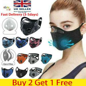 Face Mask Reusable Washable Anti Pollution Pm2 5 One Two Air Vent With Filter Uk Ebay