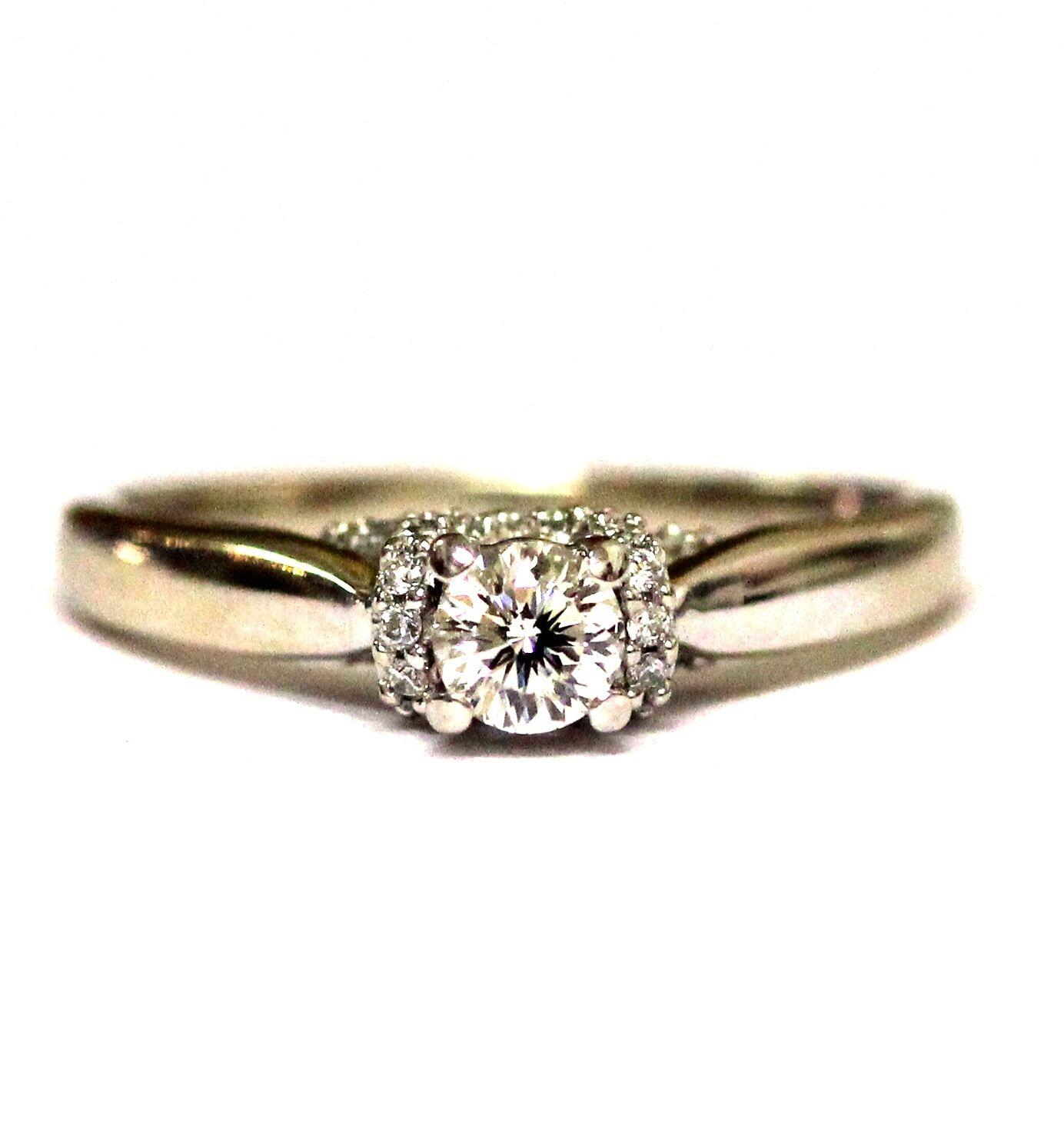 18k white gold .45ct SI1 H round celebration diamond engagement ring 4.5g estate