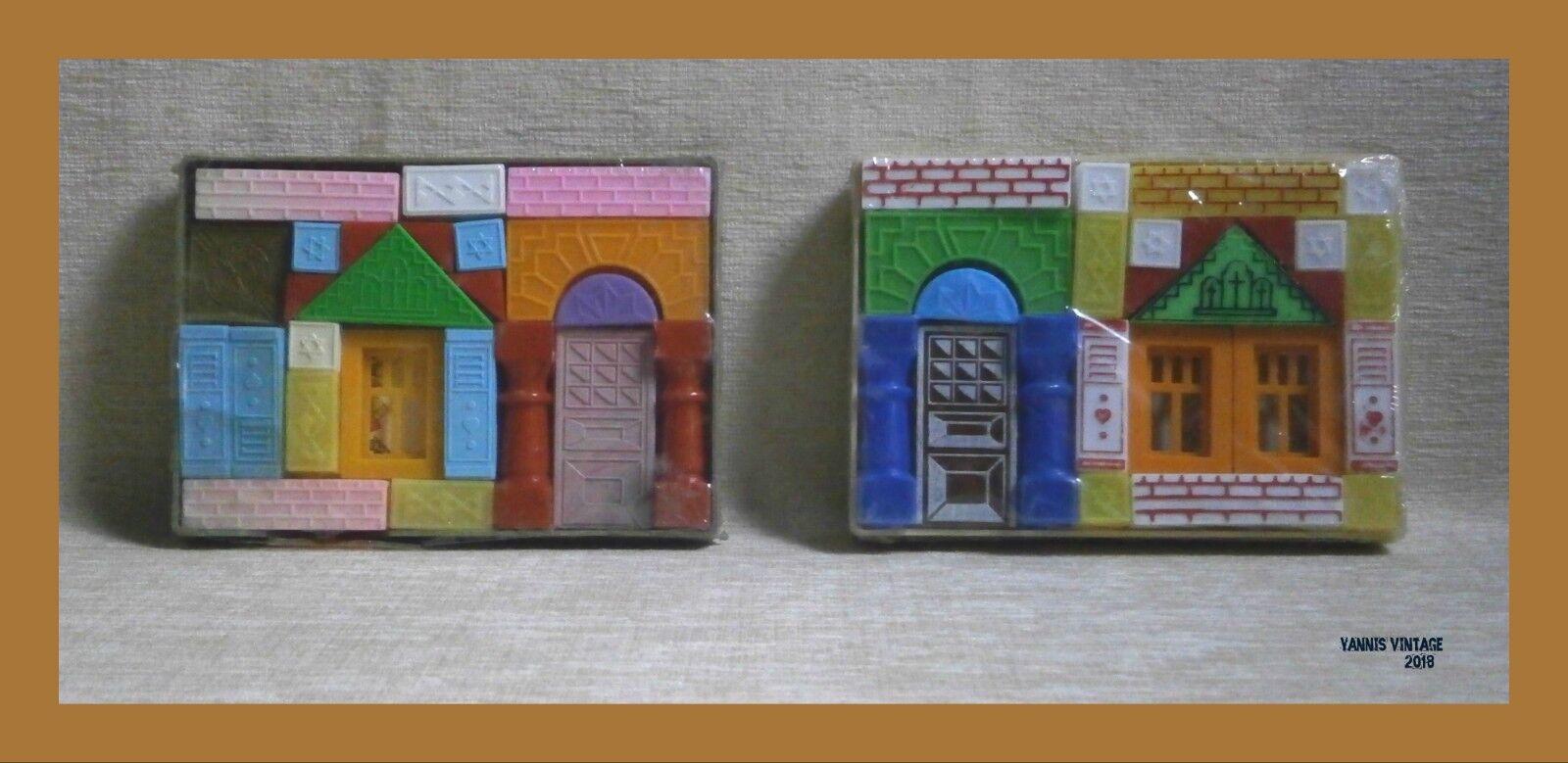 BUILDINGS Lot X 2 NIB MADE IN GREECE aper toys GREEK VTG RARE CONSTRUCTION TOY
