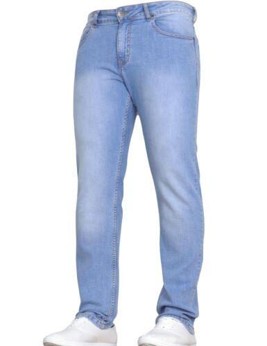 New Mens Straight Leg Stretch Trousers Work Jeans Pants Basic Big Waist Size