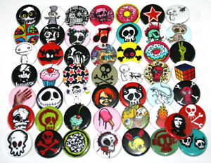 Mixed-Assorted-Wholesale-Badges-Lot-x-50-alternative-skull-punk-designs-buttons
