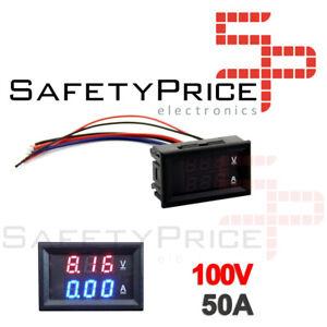 Voltimetro-Amperimetro-100V-50A-Digital-DC-Rojo-Azul-voltmeter-Panel-SP