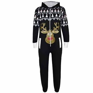 4cb1da70147f Boy Girls Novelty Christmas Black Reindeer Fleece A2Z Onesie One ...