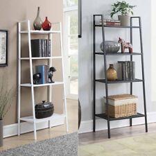 4-Tier Durable Bookcase Bookshelf Leaning Wall Shelf Shelving Ladder Storage
