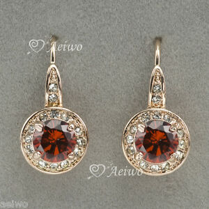 DANGLE-HOOK-EARRINGS-STUD-9K-ROSE-GOLD-MADE-WITH-SWAROVSKI-CRYSTAL-RED-1CT