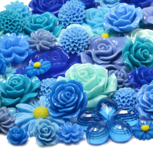 BLUE SET Resin Flatback Flower Rose Cabochon Craft Embellishments Decoden Gems