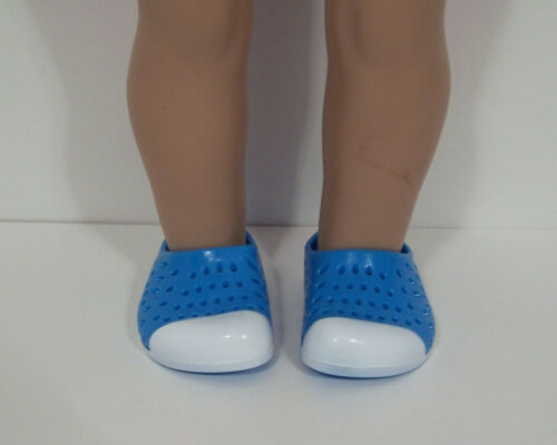 "BLUE WHITE Silicone Sandal Earth Clogs Doll Shoes For 18/"" American Girl Debs"