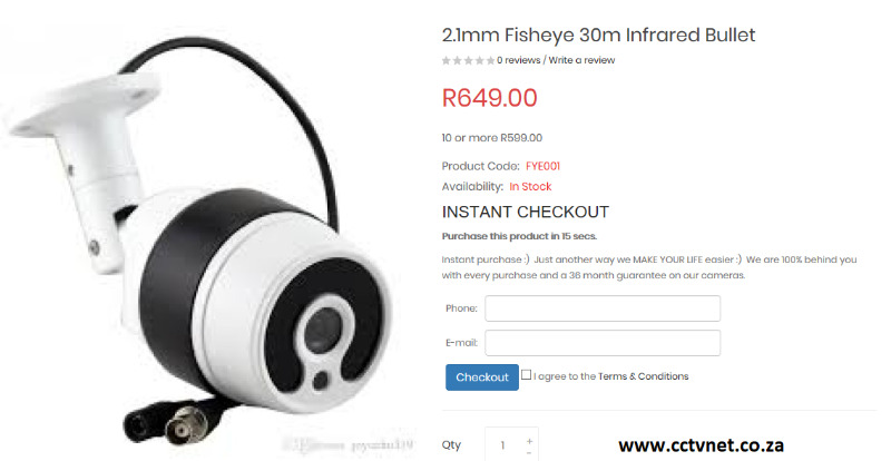 ***New*** 1 8mm Fisheye AHD/Hikvision/Dahua/Analog Bullet Camera | Boksburg  | Gumtree Classifieds South Africa | 243674320