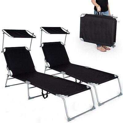 2 x Chaise longue de jardin pliante transat bain + pare soleil noir