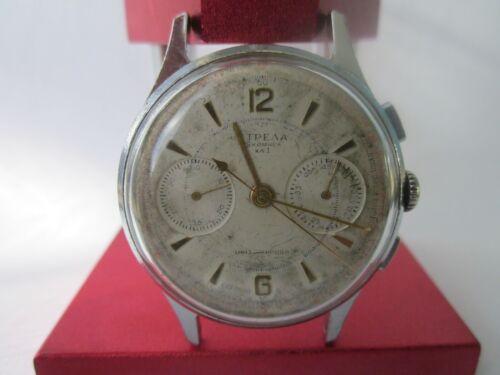 RARE-wrist-Watch-STRELA-3017-CHRONOGRAPH-Vintage-Collectible-USSR-POLJOT