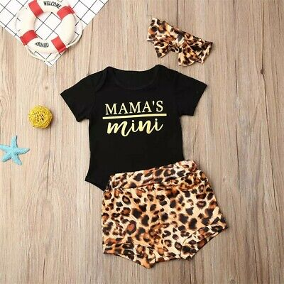 Newborn Infants Baby Girls Leopard Romper Jumpsuit Sunsuit Outfits Clothes Set
