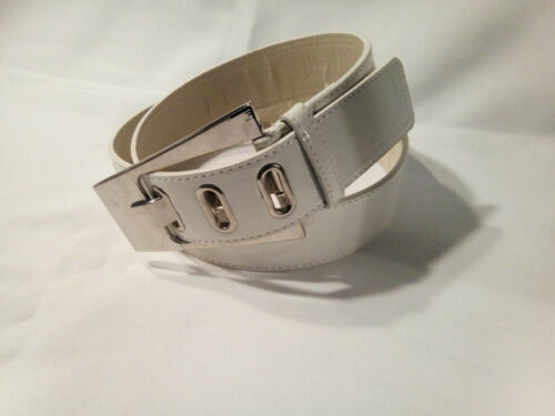 Damen Jeansgürtel Hüftgürtel Lack PU-Leder Weiss silberne Schnalle 105-110 cm