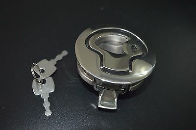 """4X Excellent Boat Stainless Steel Flush Pull Slam Latch Hatch Lift 2""""d with Key"""