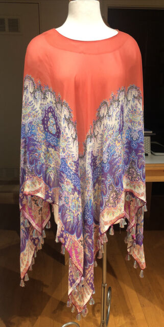 STUNNING! ETRO SHEER PRINT SILK GEORGETTE PONCHO BLOUSE TOP WITH FRINGE ONE SIZE
