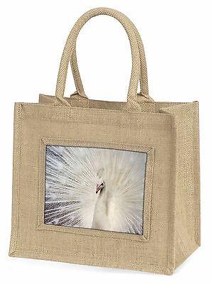 weiße Federn Pfau Große natürliche jute-einkaufstasche