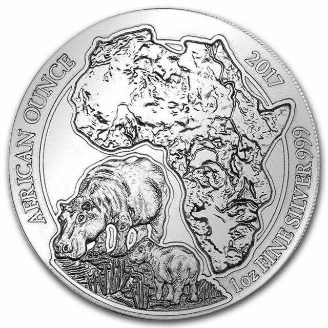 2017 Ruanda 50 Francs 1 oz Silber African Wildlife Serie Hippo (BU)