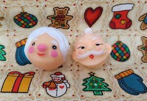 Pair of Vintage Miniature Plastic Santa & Mrs. Claus Doll Masks Faces Heads