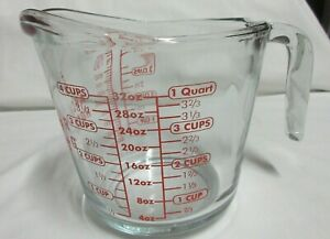 Anchor Hocking 4 Cup 1 Quart 1 Litre 32 Oz Measuring Cup Red Lettering