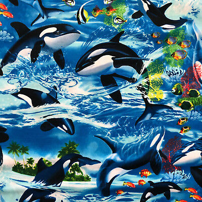 Timeless Treasures Sealife Vacation C6152 Wave Sealife Killer Whale Cotton Fab