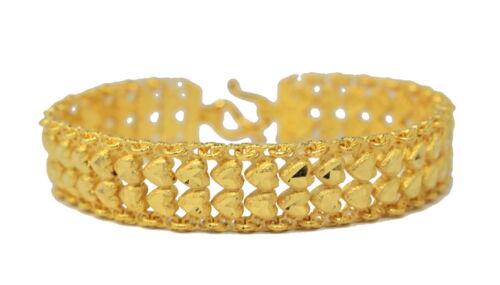 "Beautiful Heart Link 7/"" Bracelet 22K 24K Yellow Gold GP Thai Jewelry GT56"