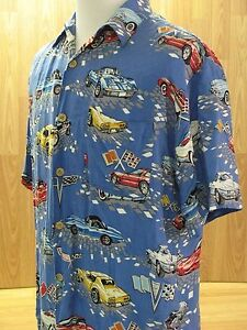 Image Is Loading Corvette Hawaiian Shirt 100 Rayon Tag Size Men