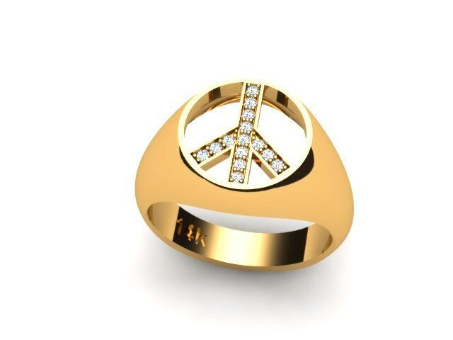 14k yelow gold Peace sign Diamond Ring
