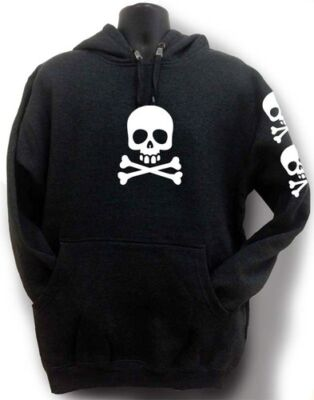 NEW MEN PRINTED SKELETON HAND HIPSTER FUNNY HOODED JACKET PULLOVER HOODIE