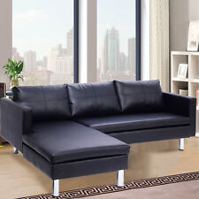 Corner Sofa 3 Seater Couch Chaise Lounge Modern Furniture Black New