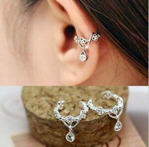 Women-Ear-Cuff-Wrap-Rhinestone-crystal-Clip-On-Earring-Jewelry-silver-one