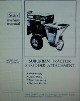 Sears Suburban Lawn Garden Tractor Chipper Shredder Owner & Parts Manual 16pg Gt