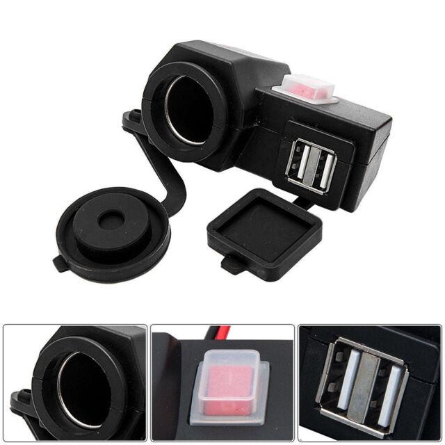 12V Waterproof Motorbike Motorcycle Dual USB Charger Power Socket Phone GPS MP3