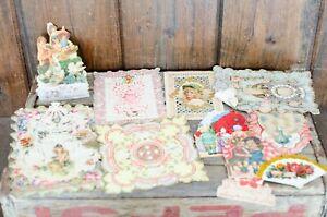 Lot-of-Antique-Vintage-Valentine-039-s-Day-Cards-Postcards-Victorian-Ornate-Valentin