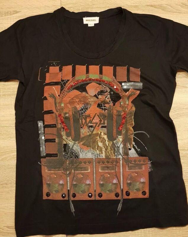 Diesel Shirt Damen Schwarz Pailletten Rot Dj Kopfhörer L