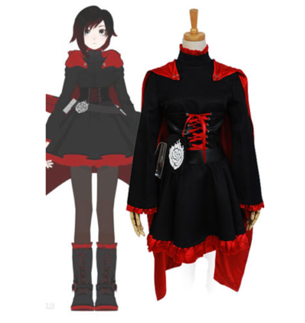 Ruby Rose Cosplay RWBY 3 Season Red Dress Cloak Battle Uniform Costume 2017 NEW